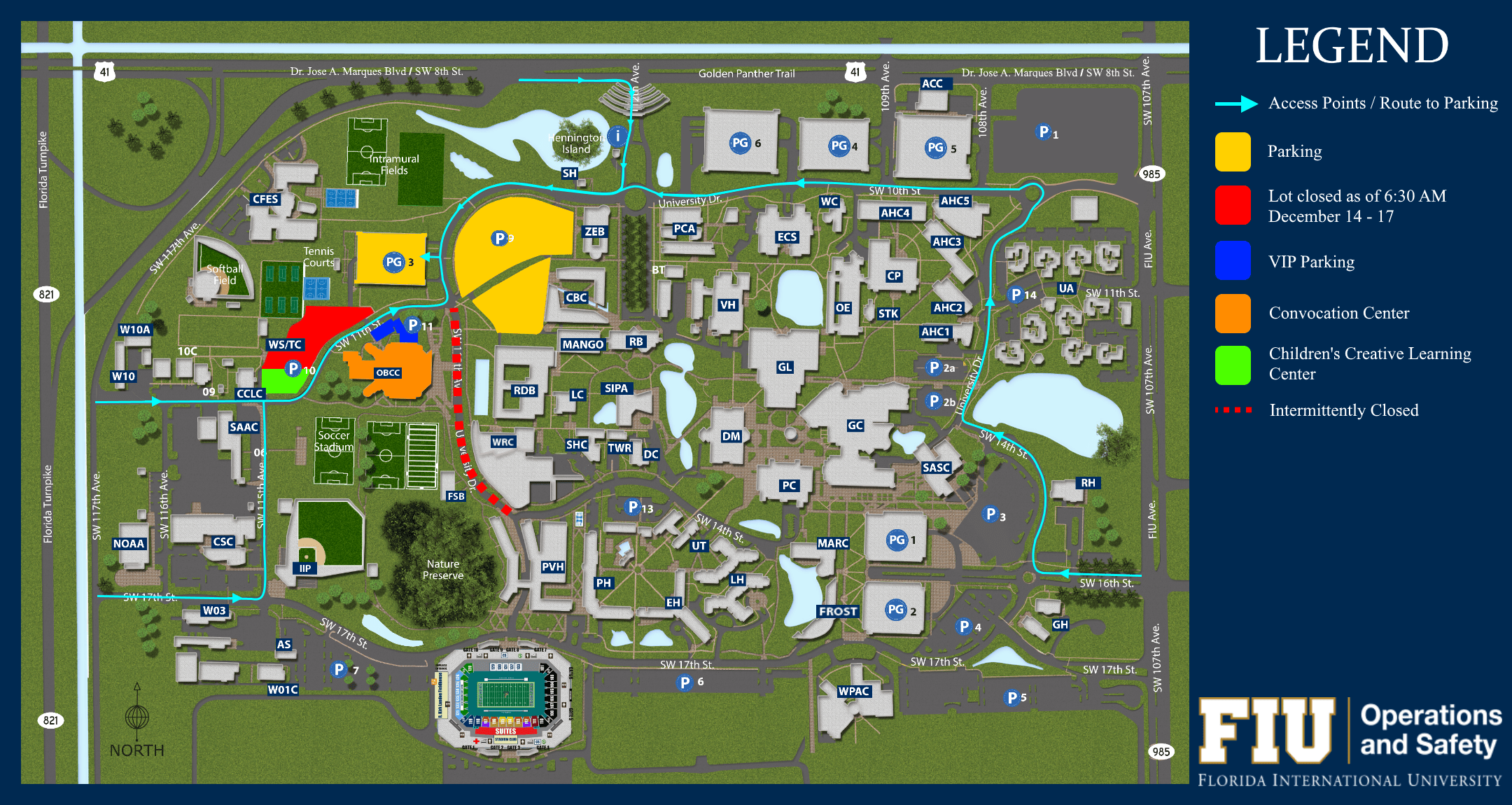 MMC Map depicting where to park for commencement